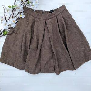 Club Monaco Brown Wool Pleated Full Skirt